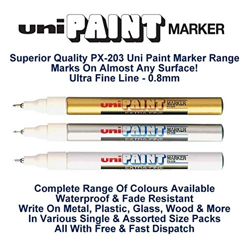 Extra feine Uni Farben (0,8 mm) PX-203 farblich sortiertes Set Öl Paint Marker Metall Glas Schreibspitze mm Starker Metallmine im Freien Stone Wood Plastic (1 Stück pro Farbe Stifte -3 - GOLD SILBER WEISS)