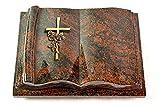 MEMORUM Grabmale Grabbuch, Grabplatte, Grabstein, Grabkissen, Urnengrabstein, Liegegrabstein Modell Antique 40 x 30 x 8-9 cm Aruba-Granit, Poliert inkl. Gravur (Bronze-Ornament Kreuz/Rose)