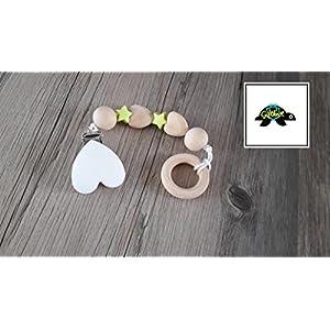 Beißkette Ring - Holz/hellgrün/weiß