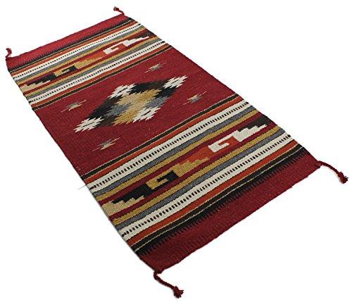 Dark Multi Teppich (Onyx Pfeil Southwest Décor Bereich Teppich, Acrylbeschichtete Baumwolle, Center Diamond Dark Red/Multi, 20 x 40)