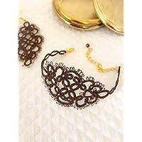 Bracciale in pizzo chiacchierino | bronzo e marrone | braccialetto elegante
