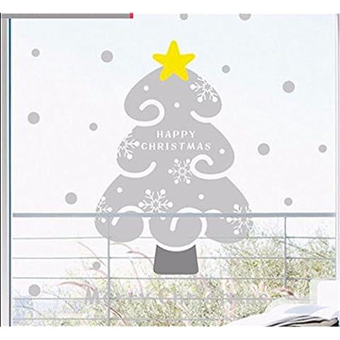Wall stickers decorazione murale?Natale decorationsChristmas Wall stickers albero di natale decorazione murale vetri poster, sez. B) / Grigio Scuro + luce ombre di grigio , + massimo
