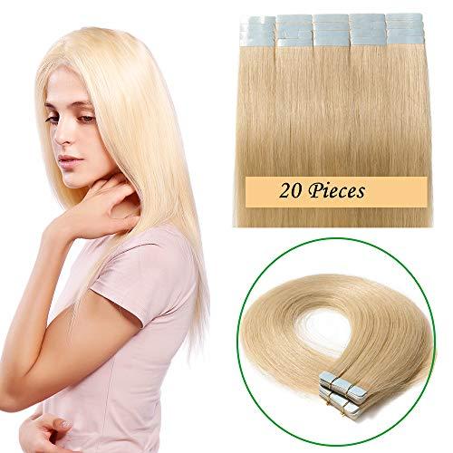 30cm-60cm extension capelli veri adesive 20 fasce 50g tape extension con biadesivo remy human hair lisci naturali 2.5g/fascia (40cm #613 biondo chiarissimo)