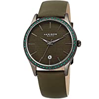 Akribos XXIV Women's Quartz Stainless Steel and Leather Casual Watch, Color:Green (Model: AK964GN)
