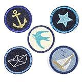 Bügelbilder Paket Aufbügler maritim 5 Flicken 5cm Anker | Stern | Segelschiff | Schwalbe | Boot Flicken zum aufbügeln für Erwachsene
