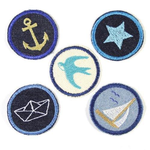 Bügelbilder Paket Aufbügler maritim 5 Flicken ø 5cm Anker | Stern | Segelschiff | Schwalbe | Boot Flicken zum aufbügeln für Erwachsene
