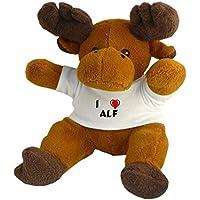 Reno de peluche (Rudolf) con Amo Alf en la camiseta (nombre de pila/apellido/apodo)