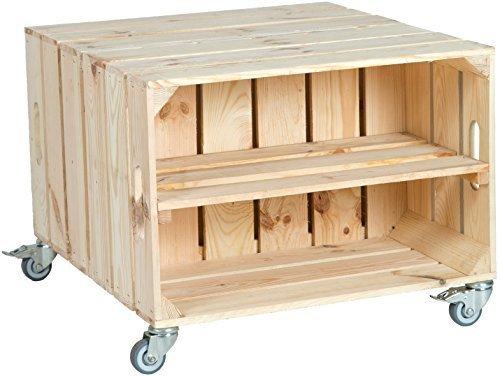 2er Table en boîtes de fruits Elfriede avec Roulettes Masse 60 x 54 x 42cm Table basse Tableau canapé table Boîte à vin Boîte en bois étagère Caisse de fruits Altisch de pluie Table de salon