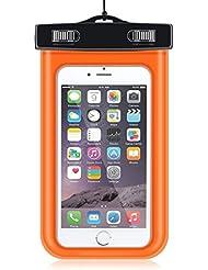 2016La nueva versión IPX8carcasa submarina, ley universal Durable Bolsa seca, Touch Responsive sistema de Windows, impermeable sellado transparente para iPhone 6S, 6S Plus, 6, 6PLUS, 5, 5S, 5, se, Samsung Galaxy S6/S6Edge/S5/S7/S7edage, Samsung Note 3,2y otros Smartphone; Bolsa impermeable para barcos/Senderismo/Natación/Buceo, naranja