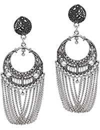 Adorelabel Oxidised Silver Plated Brass Jhumka Earrings Jewellery Gift For Women And Girls