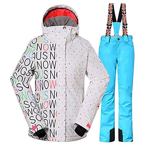 Wonny 2 Teilig Skianzug Wasserdicht Schneeanzug Jacke und Hosen Unisex Skiset Weiß Blau XS