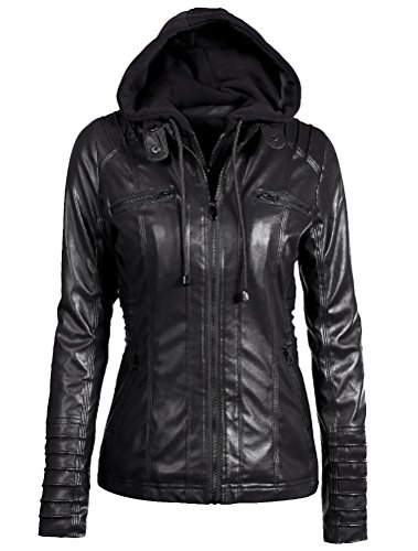 finest selection d0d46 70f28 Mallimoda Donna Ragazza Giacche in Pelle Slim Corto Giacca Giacchetto Zip  Hooded Jacket