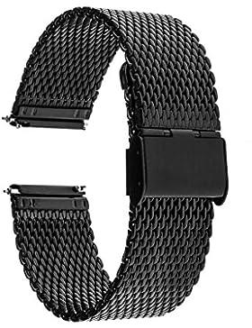 TRUMiRR 18mm Milanese Uhrenarmband Quick Release Edelstahl-Bügel für Huawei Uhr 1. / Fit Ehre S1, Asus Zenwatch...