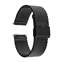 TRUMiRR 18mm Milanese Watch Band Quick Release Stainless Steel Strap for Huawei Watch, Asus Zenwatch 2 Women's WI502Q, Withings Activite / Steel / Pop,Black