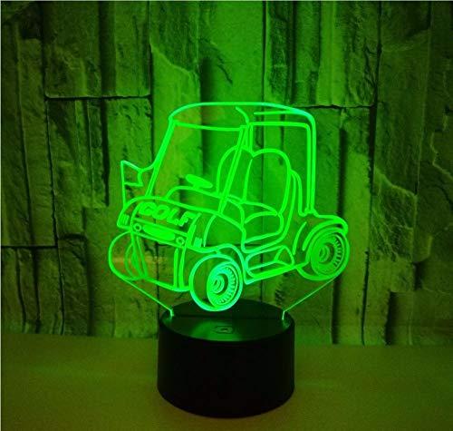 Lyqyzw Golf Cart 3D Nachtlicht Touch Fernbedienung Geschenk Bunte Tisch 3D Lampe Nachttischlampe Dekorative Lampe Für Kinderzimmer Fernbedienung Und Touch