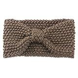 Sanwood Women Crochet Bow Knitted Hair Band Winter Headband (Khaki)