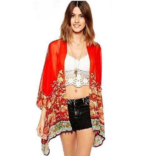 Malloom® Women Printed Chiffon Cardigan Blouse Floral Shawl Kimono Jacket Tops