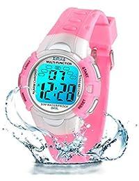 Reloj Digital para niños, 7 Colores, con luz LED, para niños, niñas, Resistente al Agua, Reloj Deportivo Digital para niños (pequeño Rosa)