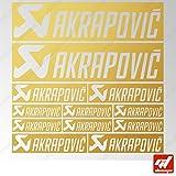 Brett 12Sticker Aufkleber Akrapovic Auspuff Anlage–Gold–Sticker, selbstklebend, Motorrad, Bike, Kit, Deco, Tuning, Decal, gt-design, GT Design, gtdesign