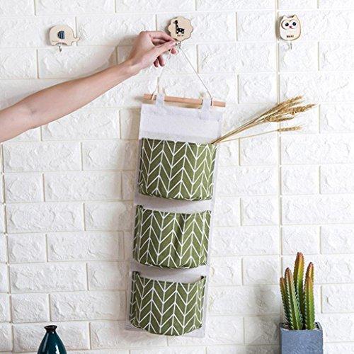 Wall Mounted 3 Beutel Aufbewahrungstasche Küche Supplies Fluid Systems Multilayer Bags,Einsparung Space Desktop Kosmetik Make-up Speicher,Schreibwaren, Bücher (Grün, 60 X 20 cm)