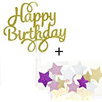 Decoración para pasteles Cake Topper Decoración para el aniversario de bodas del partido Decoración de Tartas de Fiesta, Happy Birthday Oro+ Estrellas