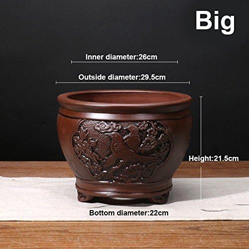 Nclon [style chinois] Yixing Argile pourpre Pot de fleur Clivia Bonsaï Les orchidées Plantes en pots Respirabilité Revêtement céramique Pot de fleur The-Gros