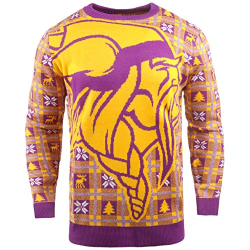 BIG NFL Ugly Sweater Pullover Christmas Minnesota Vikings Logo Weihnachtspullover (X-Large)