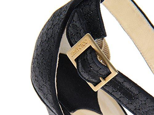 Sandales Lottie croisée Jimmy Choo en pailleté noir - Code modèle: LOTTIE EBG 161 Noir
