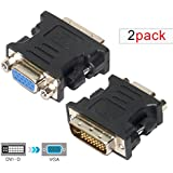 2 Pack DVI-I Dual Link 24+5pin Male To VGA 15 Pin Female Converter Adapter For HDTV/Laptop/Computer - Black