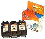 TS-Print 3er-Set Tintenpatronen ersetzt Canon 2X PG-540-XL schwarz Black + CL-541-XL DREI-farbig tri-Color