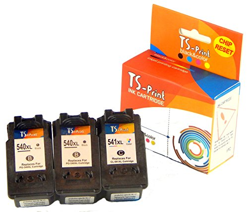 TS-Print Multi-Pack 3er-Set Druckerpatronen/Tintenpatronen ersetzt Canon 2X PG-540 XL PG-540XL (je 21ml XXL) schwarz Black bk + CL-541 XL CL-541XL (18ml XXL) DREI-farbig tri-Color - Behandlung Refill