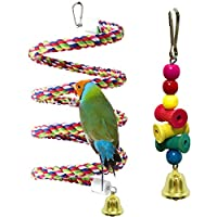 Coppthinktu Bird Perch, Bird Cage Toys with Bell, 2 Pack Rope Bungee Bird Toys with Brightly Colored Chew Toy, Cage Climbing Stand Bar Improves Balance, Coordination and Agility