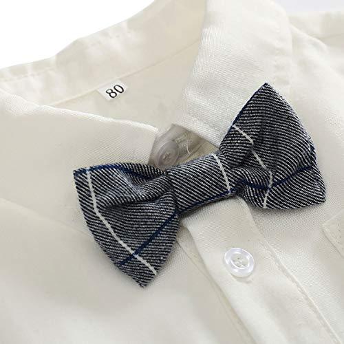 Feoya Jungen Outfits langarm Frühlinganzug Fliege Taufanzug Baby Baumwolle Hemd Hose Set Hochzeit Anzug 6-9 Monaten - 3