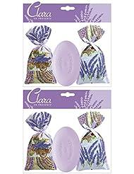 Clara en Provence - 2 x Sachets-Cadeaux Fleurs de Lavandin et Savon Lavande