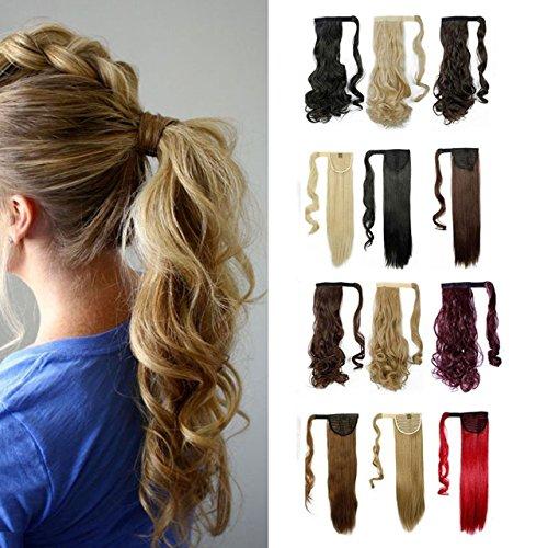 S-noilite® Haarteil Zopf Pferdeschwanz Gewellt Haarverlängerung 43cm natürlich Hair Piece div. Farben (43cm , Mittelbraun)