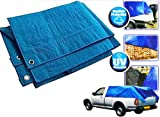 Heavy Duty Blue Tarpaulin Tarp Ground Sheet Waterproof Cover Camping Groundsheet All Sizes From 4 To 24ft / 1.2m To 7.3m