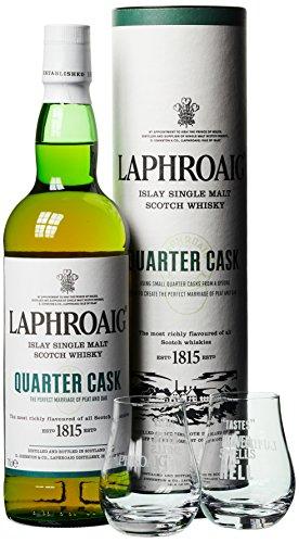Laphroaig Quarter Cask Whisky mit Geschenkverpackung mit 2 Gläsern  (1 x 0.7 l)