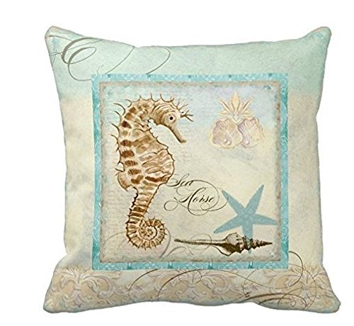 pillow perfect Sea Horse Coastal Beach - Home Decor Pillowcases Personalized 16x16 Inch Square Cotton Throw Pillow Cover Twin Sides by Pillow Perfect (Decor Sea Home)
