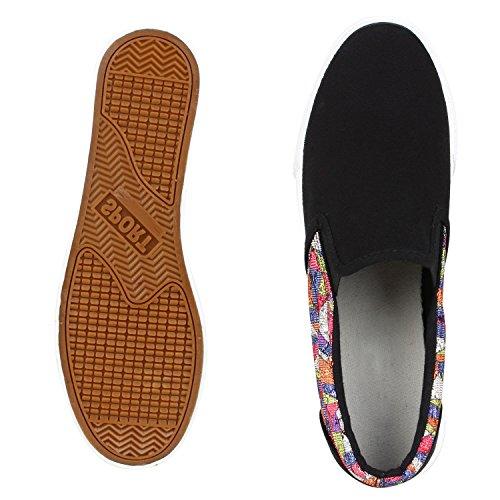 Modische Damen Sneakers | Bequeme Slip-ons| Funkelnde Glitzerapplikationen | Angesagte Plateausohle | Gr. 36-41 Schwarz Muster
