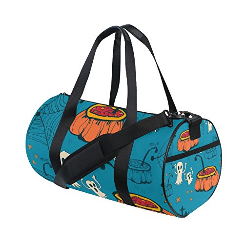 COOSUN Halloween-Kürbis-Geist-Entwurf Duffle Tasche Schulter Handy-Sport Gym-Taschen für Männer und Frauen Mittel Mehrfarben