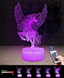 Lampada Unicorno 3D con Controllo Remoto, QiLiTd Lampade Notturna LED 5 Luminosità + Muliticolore Regolabile RGB Luce Notturna da Comodino con Controllo Tattile per Regalo di Compleanno e Natale