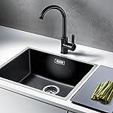 AuraLum Nero Elegant Miscelatore 360 ° girevole rubinetto da cucina Miscelatore monocomando Cascata per Lavello, Cromo