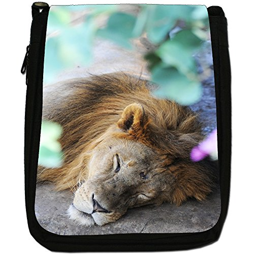 African Lion Big Cat Medium Nero Borsa In Tela, taglia M Lion Sleeping On Ground