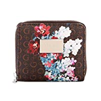 Guess Factory Women's Abree Small Zip-Around Wallet, Saffiano Leather (Brown-Multi)