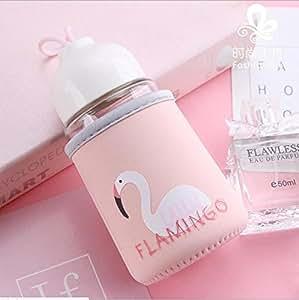 Bottiglia D'acqua in Vetro con Custodia per Bambini BPA Gratuita Piccola Bottiglia di Bevanda Portatile per Donne Studenti Ragazze Eco Friendly per Bevande Calde e Fredde Pink Flamingo 300ml
