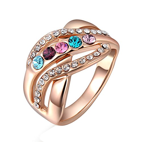 2015 Pretty Wedding Ring Fingerring Damen Schmuck Modeschmuck Kostüm Lady klassischen bunten Diamant Größe O (Kostüm Schmuck Diamant Ring)
