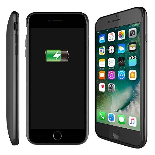 Batterie Coque iPhone 7 Plus / iPhone 8 Plus Cover, Forhouse Battery Externe Rechargeable Case Coque 7500 mAh Li-polymer Power Bank Portable Chargeur Batterie Pack Etui Housse Antichoc Smart Chargeur  Noir