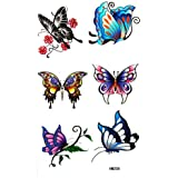 Watertight colorful fake tattoos insects butterfly