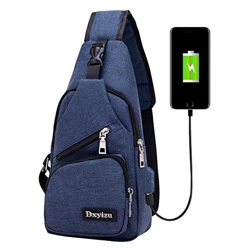 ACMEDE Sling Bag con porta USB di ricarica,antifurto spalla Crossbody petto Zaino Borsa Casual Daybacks per il camping hiking viaggio Blu scuro