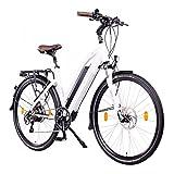 NCM Milano 48V, 28' Bicicletta elettrica da Trekking, e-Bike, BIPA, 250W, Motore posteriore Das-Kit , 13Ah 624Wh, Batteria Li-Ion con celle ad alta potenza, freni a disco meccanici, 7 velocità (Bianco 28')